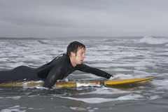 Male Surfer Paddling On Surfboard In Water At Beach Stock Photos