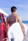 Male surfer on a surf session Stock Photo