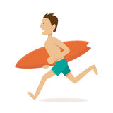 Male surfer. Vector Illustration Stock Photo