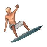 Male Surfer on White Stock Images