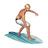 Male Surfer on White Royalty Free Stock Photos