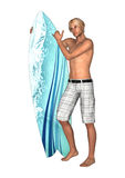 Male Surfer on White Stock Image