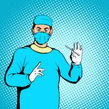 Male surgeon concept, comics style. Male surgeon concept in comics style for any design Royalty Free Stock Images