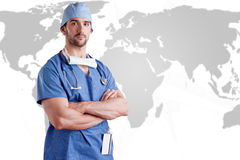 Male Surgeon. Young male surgeon with scrubs and a stethoscope Stock Image