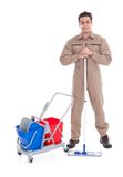 Male sweeper cleaning floor Stock Image