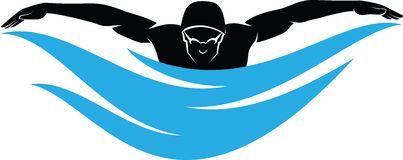 Male Swimmer Butterfly Stroke Stock Image