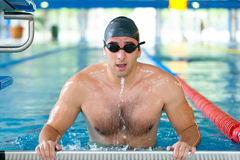 Male swimmer getting ready for competition. Training and perseveration concept Royalty Free Stock Images