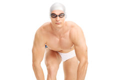Male swimmer getting ready to jump Royalty Free Stock Photos