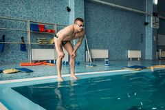 Male swimmer prepares to jump into the water. Male swimmer in goggles prepares to jump into the water, workout in swimming pool Stock Image