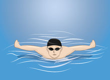 Male swimmer swimming Stock Photo