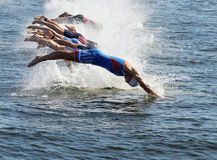 Male swimming competitors when the start signal goes. STOCKHOLM - AUG 22, 2015: Group of male swimming competitors in colorful swimsuits juming into the water Royalty Free Stock Image