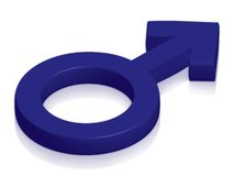 Male symbol. In blue on glossy surface Stock Images