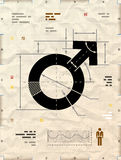 Male symbol as technical blueprint drawing. Drafting of man sign on crumpled kraft paper. Qualitative vector illustration about man biology and health, male Royalty Free Stock Image