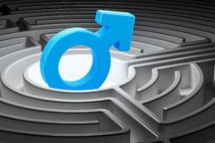 Male symbol at the center of a maze, 3D rendering. Male symbol at the center of a maze, 3D Royalty Free Stock Photo