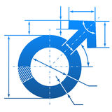 Male symbol with dimension lines. Element of blueprint drawing in shape of man sign. Qualitative vector (EPS-10) illustration about man biology and health, male Stock Images