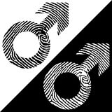 Male symbol fingerprint icon. Black and white design. Two variations. Simple design Stock Photo