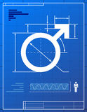 Male symbol like blueprint drawing Royalty Free Stock Image