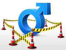 Male symbol located in restricted area. Dangerous man sign surrounded barrier tape. Qualitative vector (EPS-10) illustration about mens biology and health, male Stock Photos