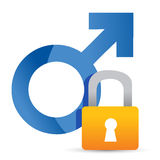 Male symbol and lock Royalty Free Stock Photography
