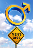 Male symbol road sign with mens area text Stock Images