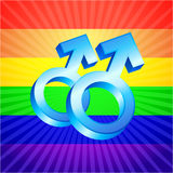 Male symbols on glowing rainbow background Royalty Free Stock Image