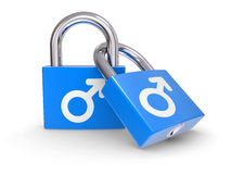 Male Symbols on a lock Stock Photos