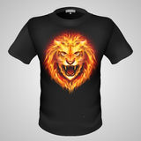 Male t-shirt with lion print. Black male t-shirt with print of fiery lion head Royalty Free Stock Image