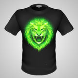 Male t-shirt with lion print. Black male t-shirt with print of green fiery lion head Stock Images
