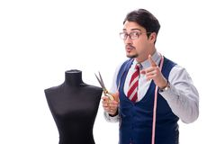 The male tailor isolated on white background. Male tailor isolated on white background Stock Photography