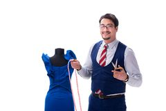 The male tailor isolated on white background. Male tailor isolated on white background Royalty Free Stock Images