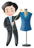 Male tailor with measuring tape. Illustration Royalty Free Stock Photos