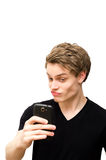 Male taking a selfie. On smartphone Stock Image