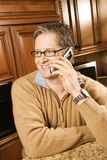 Male talking on cell phone. Royalty Free Stock Image
