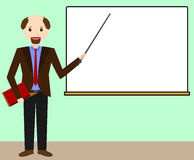 Male teacher at the chalkboard. Teacher leads the lesson. Vector illustration Royalty Free Stock Photos