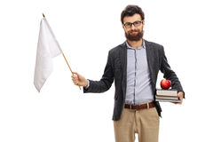 Male teacher holding white flag and looking at the camera. Male teacher holding a white flag and looking at the camera isolated on white background Stock Photos