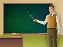Male teacher pointing to a blackboard Royalty Free Stock Photography