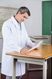 Male Teacher Reading Paper At Desk Royalty Free Stock Photography