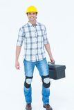 Male technician carrying tool box Royalty Free Stock Photo