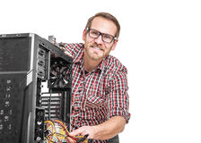 Male technician with computer Royalty Free Stock Photography