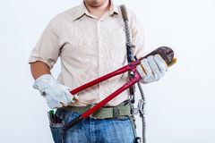 Male technician concept. Isolated on white background Royalty Free Stock Photos