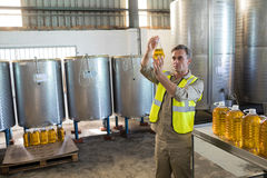 Male technician examining olive oil. In factory Royalty Free Stock Photos
