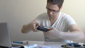 Male technician. stock video