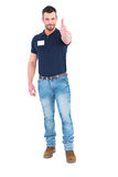 Male technician gesturing thumbs up Royalty Free Stock Photos