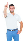 Male technician pointing upward on white background. Portrait of happy male technician pointing upward on white background Stock Photos