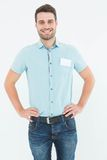 Male technician standing hands on hips Stock Photo