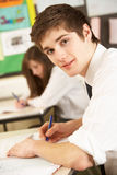 Male Teenage Student Studying Stock Image