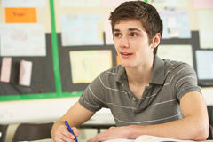 Male Teenage Student Studying Stock Photo