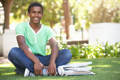 Male Teenage Student Studying In Park royalty free stock image