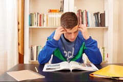 Male teenager concentrated studying. In a desk Stock Photos