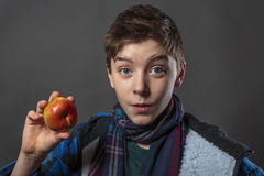 Male teenager eating an apple. Portrait of a male teenager eating an apple with winter jacket,  on gray Royalty Free Stock Images